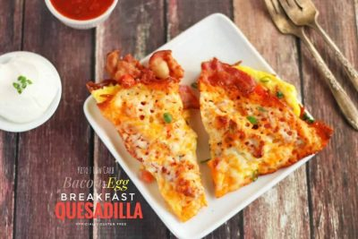 Keto Bacon and Egg Breakfast Quesadilla