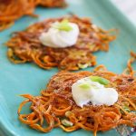 Spiralized Sweet Potato Latkes