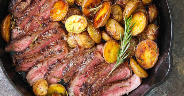 Skillet Steak With Rosemary Roasted Potatoes