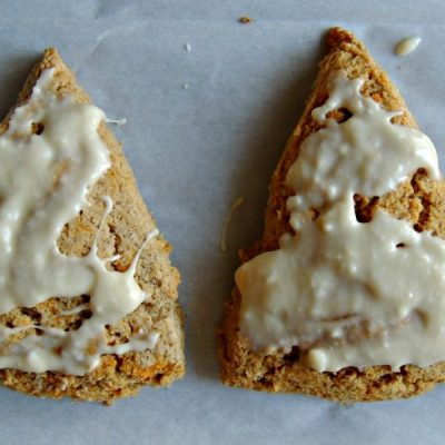 Carrot Cake Scones with Maple Cream Cheese Icing {Gluten Free}