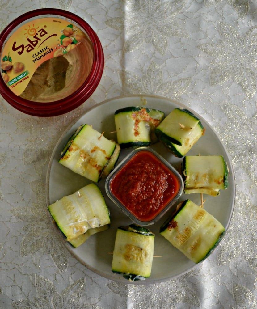 Zucchini Roll Ups With Hummus and Mozzarella