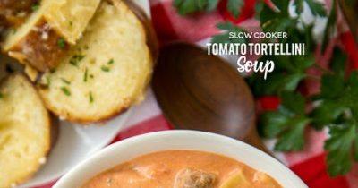 Slow Cooker Tomato Tortellini Soup