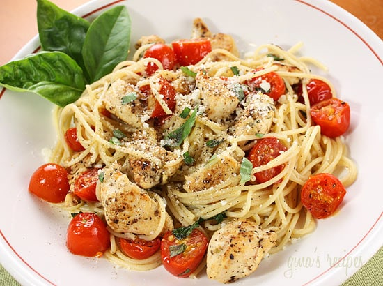 Spaghetti with Sauteed Chicken and Grape Tomatoes